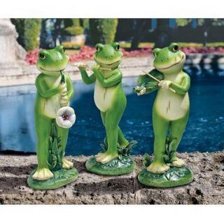 Garden Jazz Frog Musician Statue Frogs Instrument Violin Flute Design