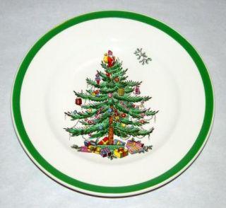 Vintage Spode England Green Trim Christmas Tree + Santa 6 1/2 Bread