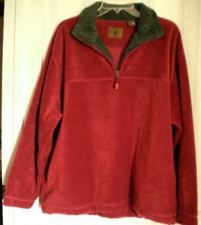 ST JOHNS BAY BURGUNDY FLEECE MENS PULLOVER SHIRT SIZE LARGE