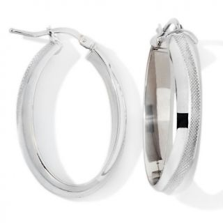 Jewelry Earrings Hoop 14K White Gold Textured Swirl Oval Hoop