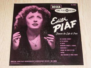 1950 Edith Piaf Chansons Des Cafes de Paris Decca DL6004 Canada