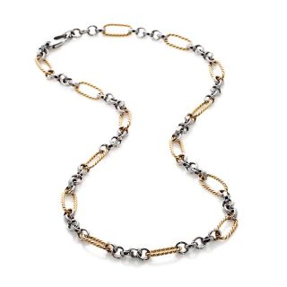 Jewelry Necklaces Chain 14K Gold 2 Tone Station Link 17 Necklace
