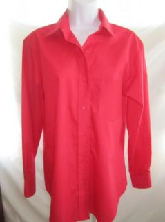 Sz 6 Foxcroft Shirt DK Coral Red Button Front Cotton Blend Wrinkle