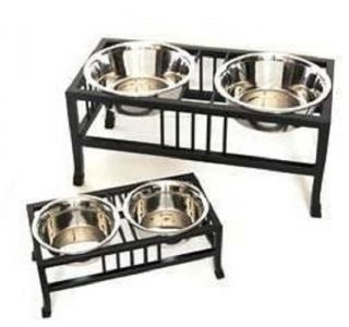 Pet Raised Elevated Dog Stainless Steel 2 Bowl Feeder Iron Rack Small