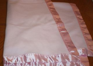 Especially for Baby Plain Pink Satin Trim Baby Blanket