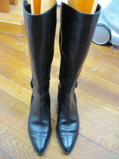 van eli jet black leather high riding boots 4m