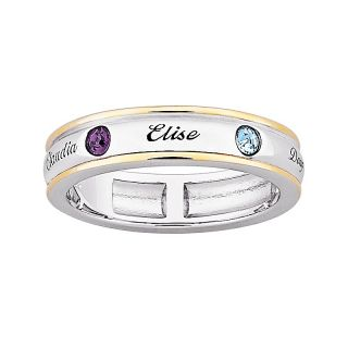 Sterling Silver 2 Tone Name & Birthstone Color Crystal Mothers Band