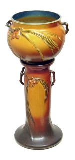 ANTIQUE ROSEVILLE BROWN PINECONE ART POTTERY JARDINIERE PEDESTAL #632