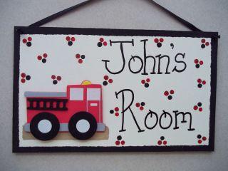 Firetruck firefighter firemen personalized bedroom bathroom kids wood