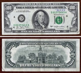 1977 $100 ONE HUNDRED DOLLAR BILL FEDERAL RESERVE NOTE   CLEVELAND