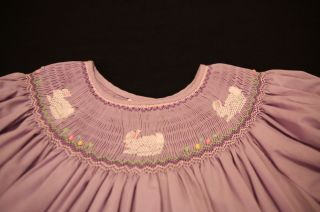 Rosalina Boutique Smocked Bunnies Bishop Dress 6 Portraits Easter Worn