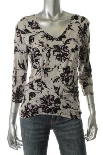 Ellen Tracy New Multi Color Silk Printed V Neck Ruched Blouse Top M