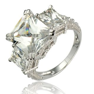 Emerald Cut Cubic Zirconia 3 Stone Sterling Silver Wedding Engagement