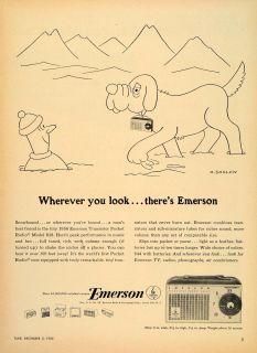 1955 Ad Emerson Transistor Pocket Radio Soglow Jersey Original