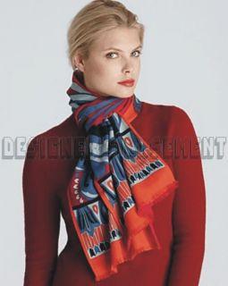 EMILIO PUCCI crimson WILD WINTER Wool/Silk 2 ply Long 13x68 scarf NWT