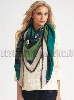 EMILIO PUCCI emerald PAPAVERI 100% wool 50 scarf PASHMINA shawl NWT