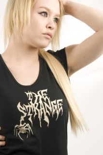 Emily The Strange Small The Strange Spider V Neck T Shirt Tee Black