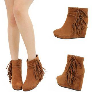Tan Suede Fringe Moccasin High Heel Platform Wedge Ankle Boots Booties