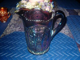 PURPLE AMETHYST CARNIVAL GLASS PITCHER HEIRLOOM PATTERN BY INDIANA