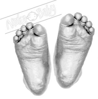 Baby Casting Kit 3D Cast Hand Foot Print Mould Silver Plaster Feet