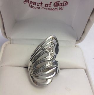 Genuine Sterling Silver Wavy Design Elongated Ring Size 8