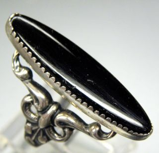 INSPIRED BEAU STERLING SILVER BLACK ONYX SWIRL DESIGN ELONGATED RING
