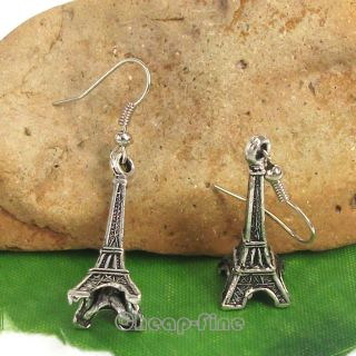 Lots 10Pairs Tibetan silver Eiffel Tower charm pendant Dangle Earrings