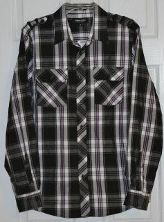 Eighty Eight Young Mens Long Sleeve Black Gray White Plaid Shirt Size