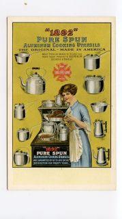 1892 Pure Spun Aluminum Cooking Utensils (Pots, Pans)   Adv Postcard