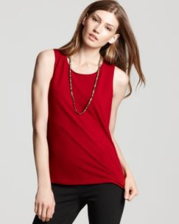 Eileen Fisher New Red Stretch Knit Jewel Neck Tank Top Shirt Petites