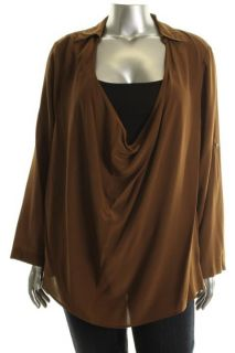 Eileen Fisher New Bronze Silk Crepe Drape Front Boxy Blouse Shirt Plus