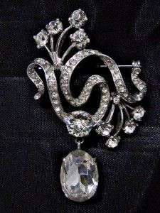 Eisenberg Original Sterling Silver Swarovski Rhinestone Dangle Brooch