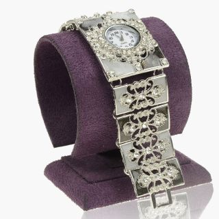 Gold GP Ladies Rectangle White Crystal Enamel bangle Watch A1268K