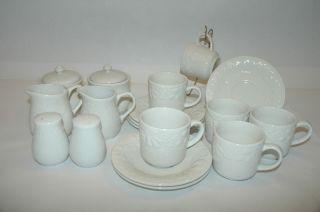 Gibson White Embossed Grape Pattern Tea Coffee Set Dinnerware Setting