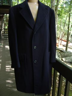 EL DORADO designer 100% CASHMERE navy blue MENS OVERCOAT long JACKET