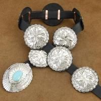 Native American Navajo Turquoise XL Silver Stamped Concho Leather Belt