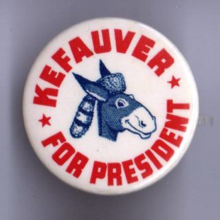 1950s Pin Estes Kefauver for President Pinback Donkey in Coonskin Hat