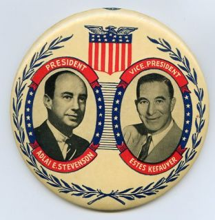 Stevenson   Kefauver 1956 Jugate Presidential Campaign Pin Pinback