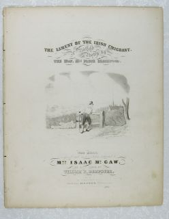 RARE Lament of The Irish Emigrant Sheet Music C1843