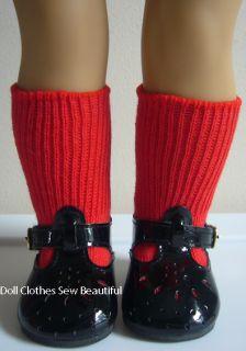 American Girl Emily Black Patent T Strap Shoes Socks
