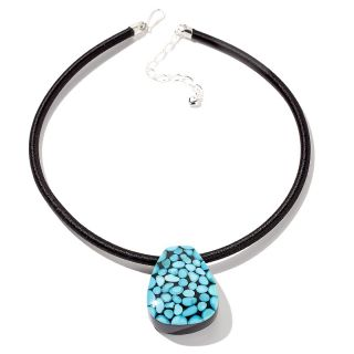Jay King Sleeping Beauty Turquoise and Black Obsidian Doublet 18 1/4