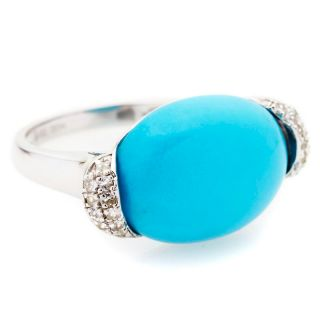 Heritage Gems Sleeping Beauty Turquoise and White Sapphire Sterling
