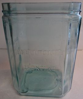Delco Exide Ironclad Battery Glass Jar Light Blue Green Aqua Vtg