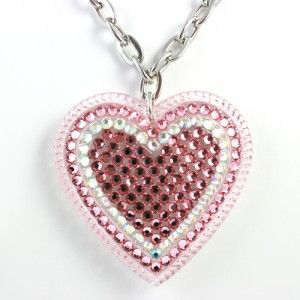 Tarina Tarantino XL Crystal Heart Necklace Light Rose