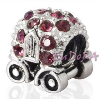 CZ baby car Eudora silver screw charm bead fit bracelet S780A
