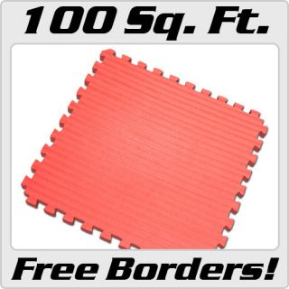 Red 100 sqft Martial Arts Mat Jiu Jitsu Foam Puzzle Mats Gym Soft Eva