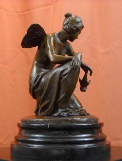Butterfly Fairy Bronze Statue Nude Eugene Laurent Sculpture Oil Lamp