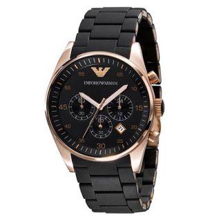 Emporio Armani Chronograph Rose Gold Bezel Mens Watch AR5905