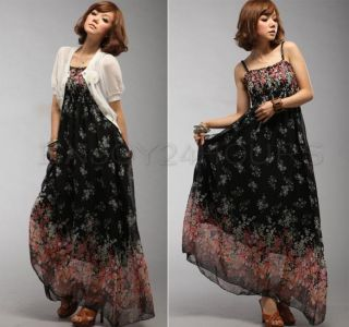 Women Boho Floral Sexy Exotic Chiffon Long Dress Skirt