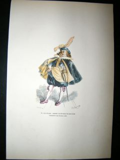 Grandville des Animaux 1842 Hand Col Print. Dog In fancy Costume
